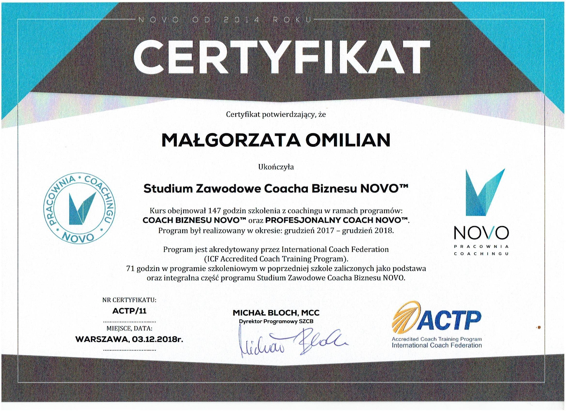 Małgorzata Omilian Coach Biznesowy