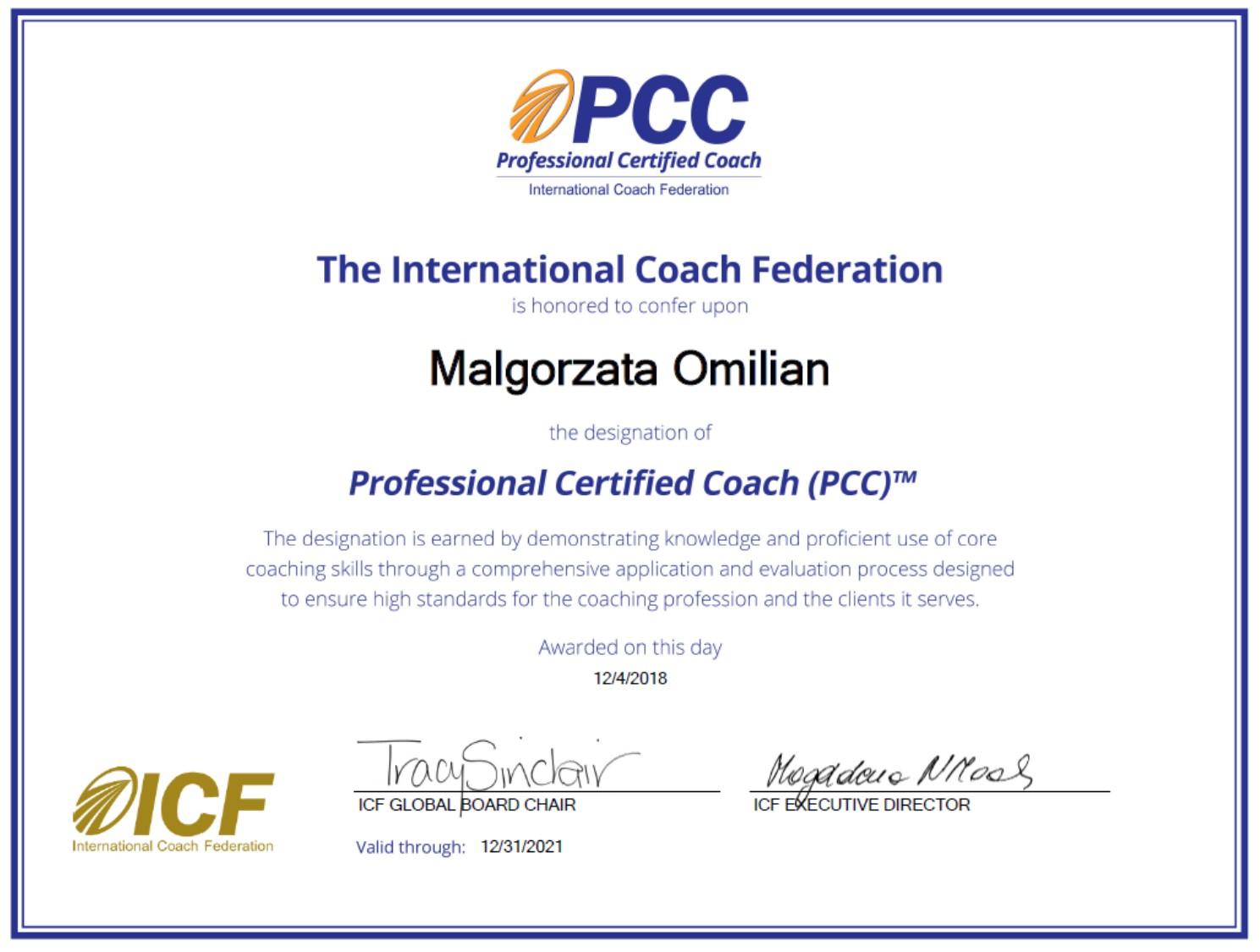 Małgorzata Omilian PCC ICF